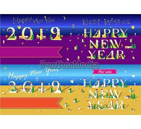 christmas new year 2019 set