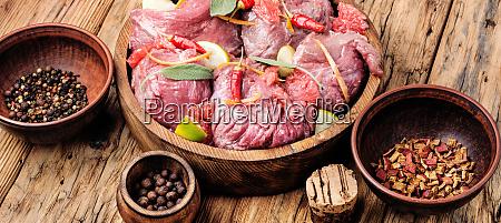 beef meat in citrus marinade