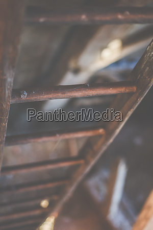 an old wooden ladder leads upwards