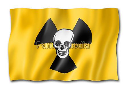 radioactive nuclear symbol death flag isolated