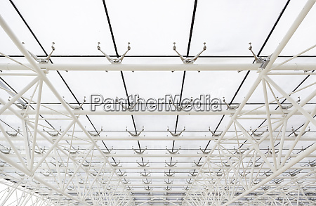 glass roof with white beams