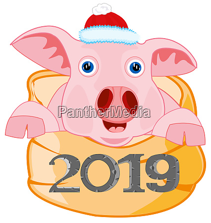 symbol approaching year piglet in bagvector