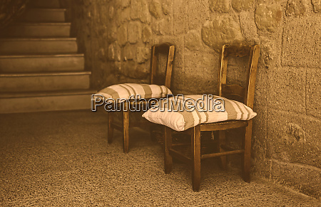 old wooden village chairs