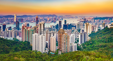 hong kong skyline at sunset panorama