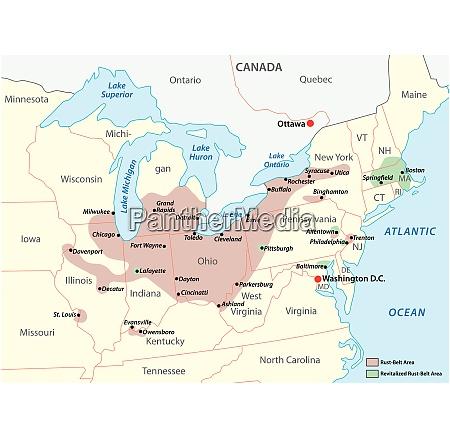 map of the region rust belt