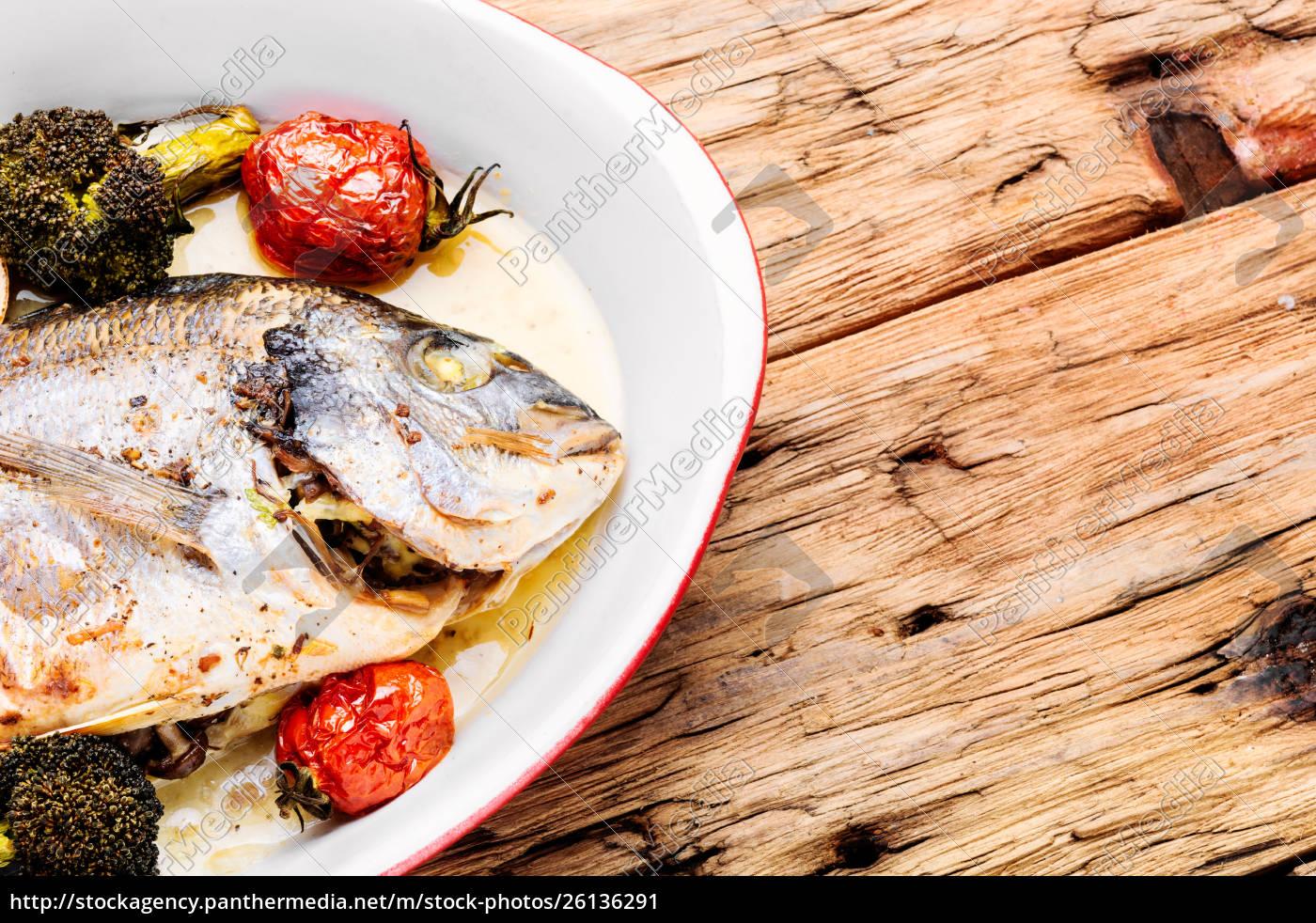 baked, in, oven, sea, fish, dorado - 26136291