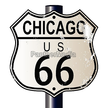 chicago route 66 highway sign