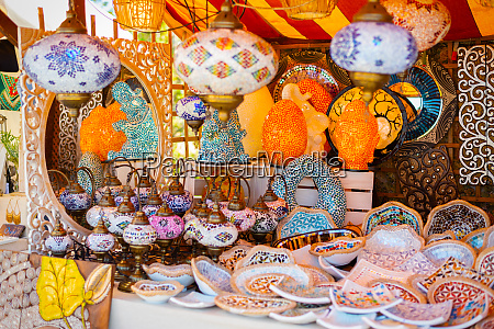 colorful lamps at the medieval market