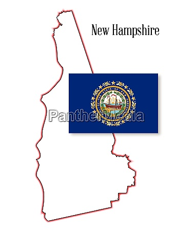 new hampshire state map and flag