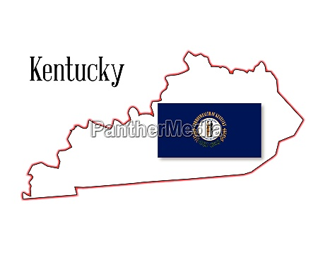 kentucky state map and flag