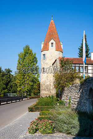 historic city gate tower of abensberg