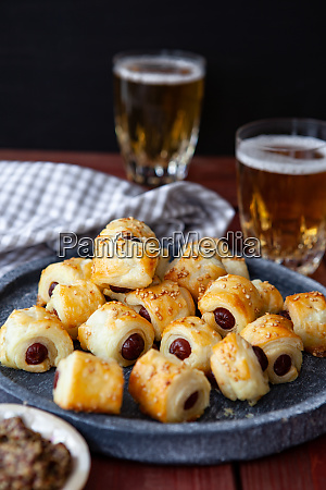 savoury snack with sausages