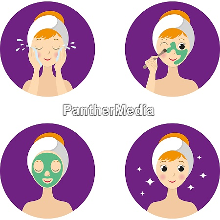 skincare procedures collection with beautiful woman