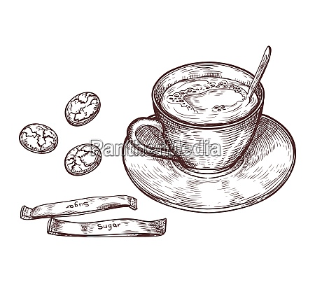 hand drawn cup of hot drink