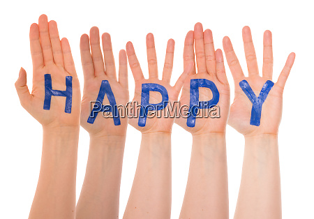 many hands building english word happy