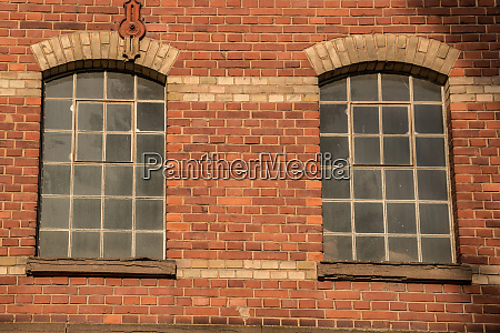 old empty brick house factory with