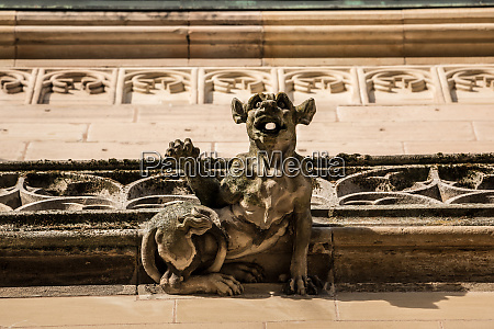 old gargoyle on the roof of