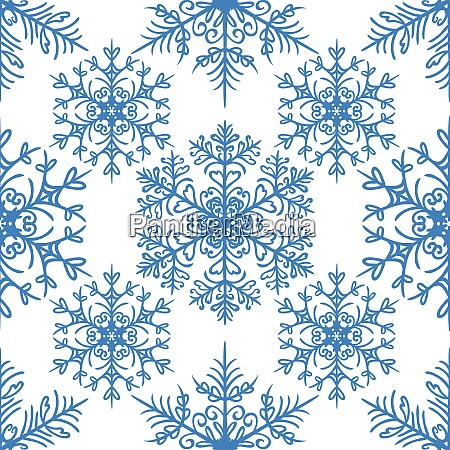 simple seamless pattern with snowflakes on