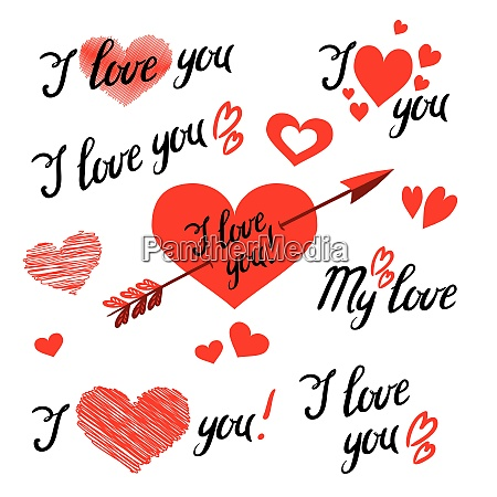 set of i love you hand