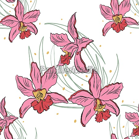 seamless pattern of pink orchids on
