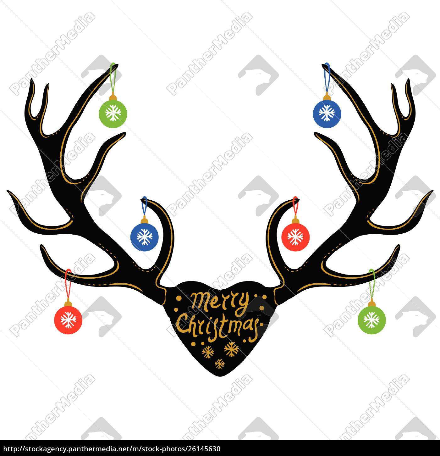 christmas, decoration, on, reindeer, horns, , silhouette - 26145630