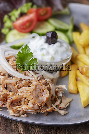 greek gyros with tzaziki and fries