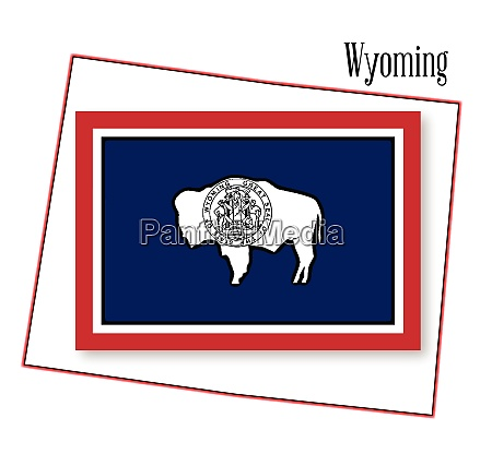 wyoming state map and flag