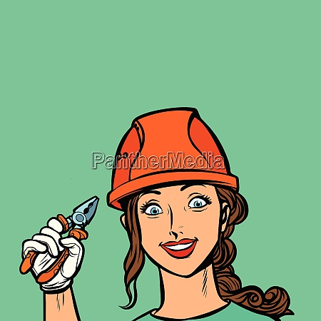 smiling woman electrician professional