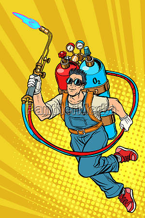 welder professional worker superhero with gas