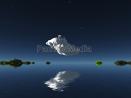 cloud on watery islands horizon 3d