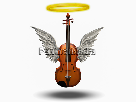 violin with wings and halo on