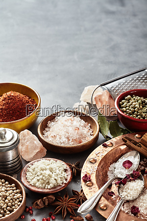 spices with assorted natural cooking salts