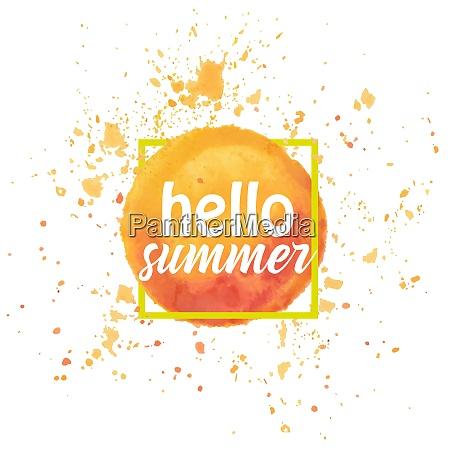 watercolor sun hello summer