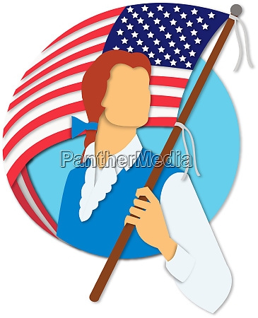 american patriot holding flag paper cut