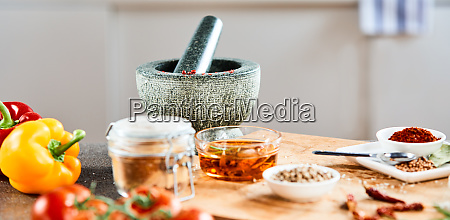 stone pestle and mortar with oil