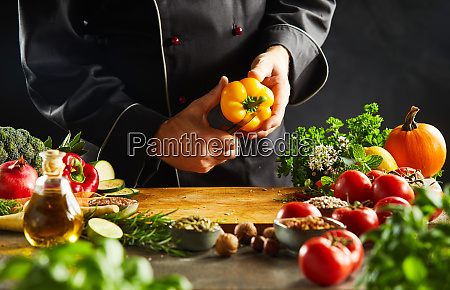 chef, slicing, a, fresh, yellow, sweet - 26155996