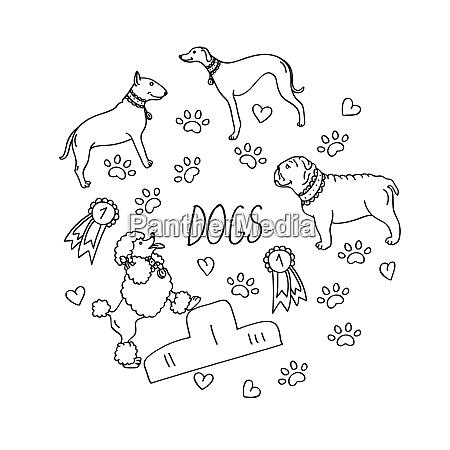 set of design elements dog