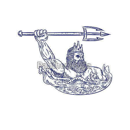 triton wielding trident drawing blue