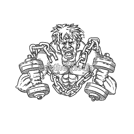 buffed athlete dumbbells breaking free from