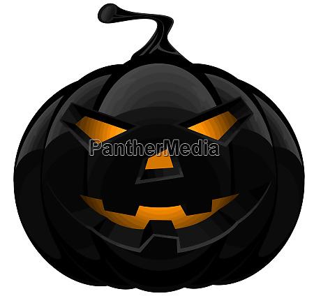 black pumpkin halloween terror scary illustration
