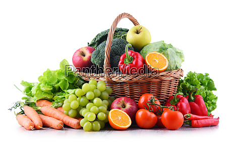 fresh organic fruits and vegetables in