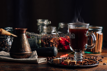 spiced coffee in glass