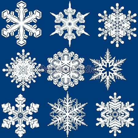 white snowflake crystal set