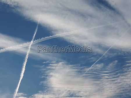 plane trails in the sky