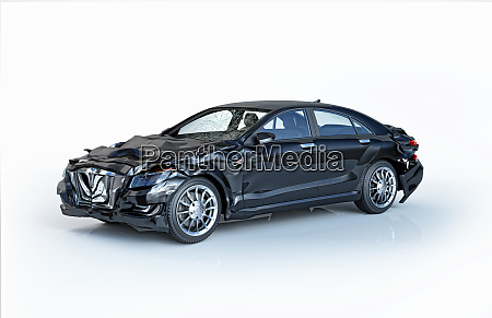 single car accident black luxury sedan