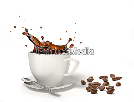 liquid coffee splash in a white