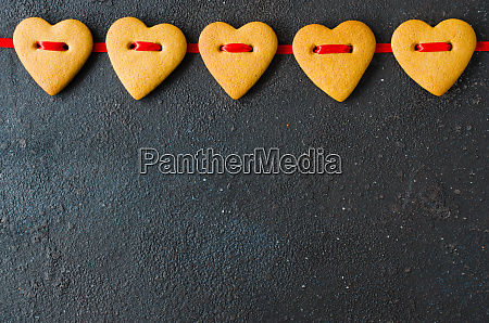 valentines day greeting card with gingerbread