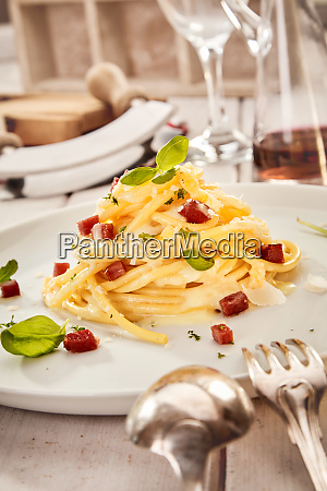 food styling concept with italian spaghetti