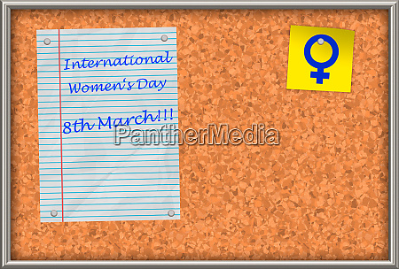cork board with text international womens