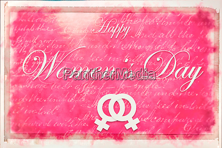 pink illustration card with text happy